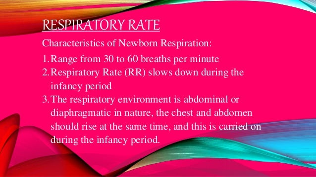 RESPIRATORY RATE Characteristics of Newborn Respiration: 1.Range from 30 to 60 breaths per minute 2.Respiratory Rate (RR) ...