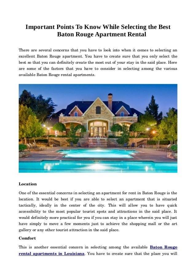 Important Points To Know While Selecting the Best Baton Rouge Apartment Rental Thereareseveralconcernsthatyouhaveto...