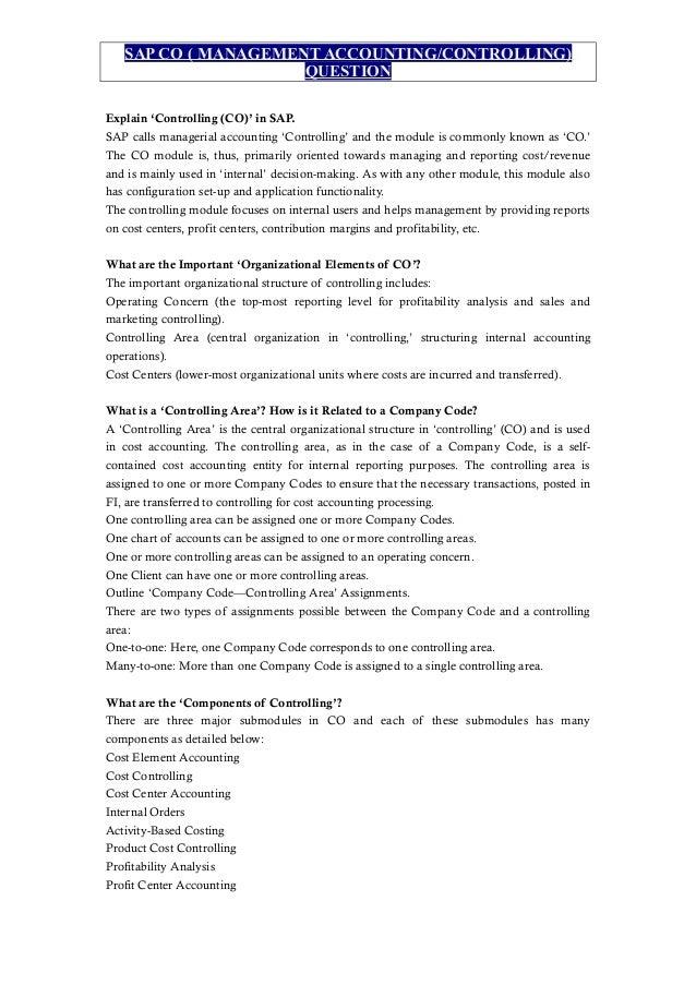 SAP CO ( MANAGEMENT ACCOUNTING/CONTROLLING) QUESTION Explain U0027Controlling  (CO)u0027 ...