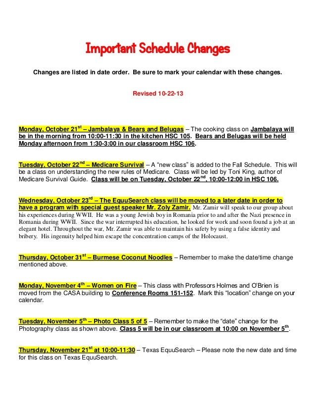 Important Schedule Changes Changes are listed in date order. Be sure to mark your calendar with these changes.  Revised 10...
