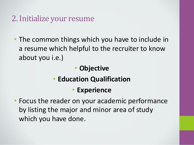 important things to include in a resumes