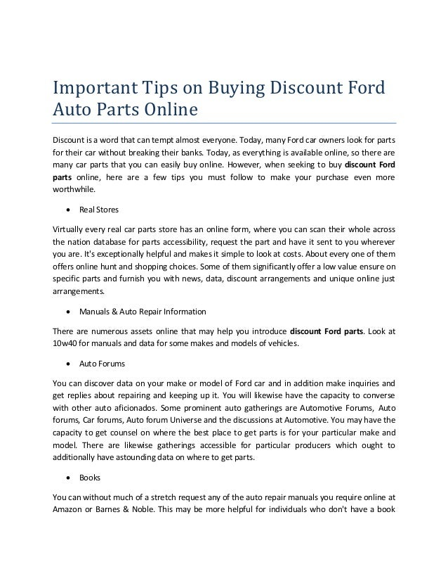 Important Tips on Buying Discount Ford Auto Parts Online Discount is a word that can tempt ...  sc 1 st  SlideShare & Important tips on buying discount ford auto parts online markmcfarlin.com