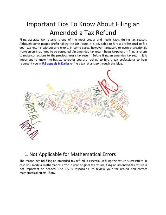 Important Tips To Know About Filing an Amended a Tax Refund Filing accurate tax returns is one of the most crucial and hec...