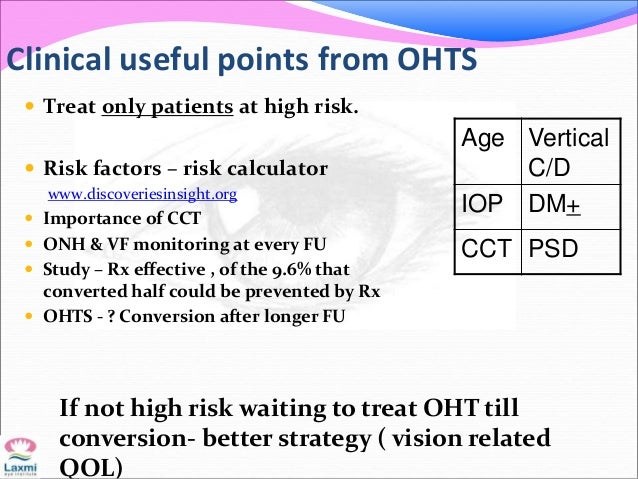 Clinical useful points from OHTS  Treat only patients at high risk.  Risk factors – risk calculator www.discoveriesinsig...