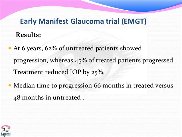 Early Manifest Glaucoma trial (EMGT) Results:  At 6 years, 62% of untreated patients showed progression, whereas 45% of t...