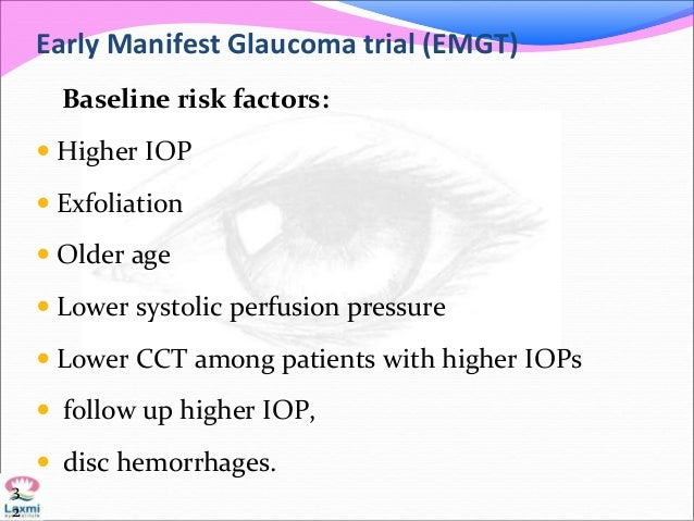 Early Manifest Glaucoma trial (EMGT) Baseline risk factors:  Higher IOP  Exfoliation  Older age  Lower systolic perfus...