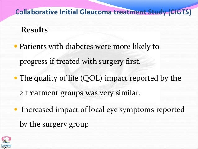 Collaborative Initial Glaucoma treatment Study (CIGTS) Results  Patients with diabetes were more likely to progress if tr...