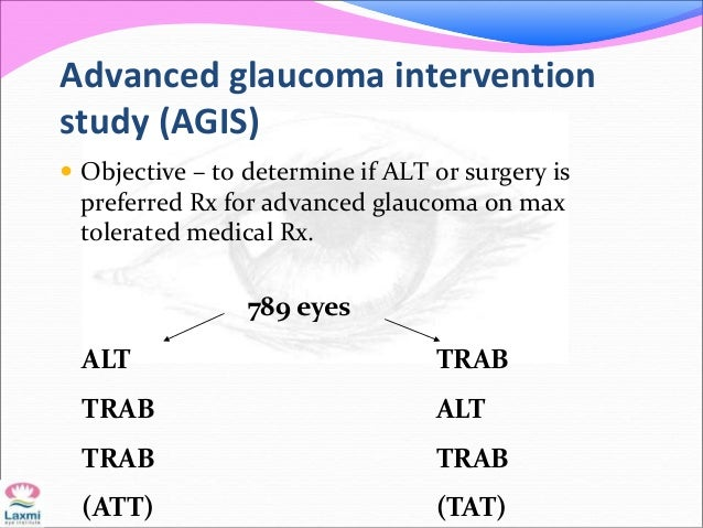Advanced glaucoma intervention study (AGIS)  Objective – to determine if ALT or surgery is preferred Rx for advanced glau...