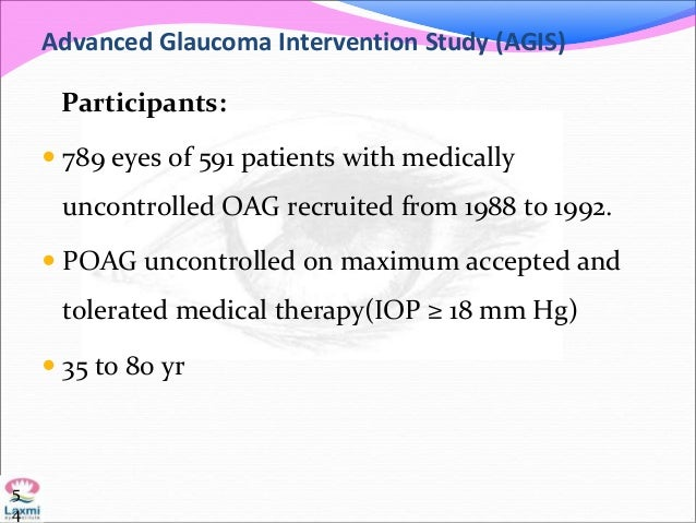 Advanced Glaucoma Intervention Study (AGIS) Participants:  789 eyes of 591 patients with medically uncontrolled OAG recru...