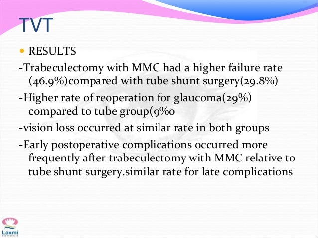 TVT  RESULTS -Trabeculectomy with MMC had a higher failure rate (46.9%)compared with tube shunt surgery(29.8%) -Higher ra...