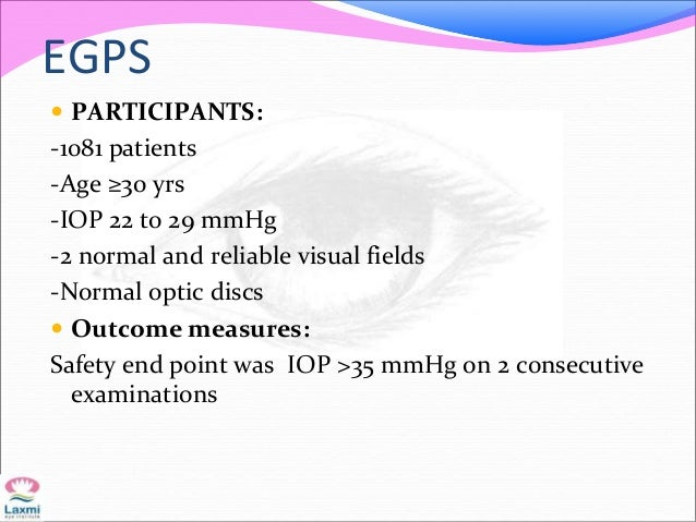 EGPS  PARTICIPANTS: -1081 patients -Age ≥30 yrs -IOP 22 to 29 mmHg -2 normal and reliable visual fields -Normal optic dis...