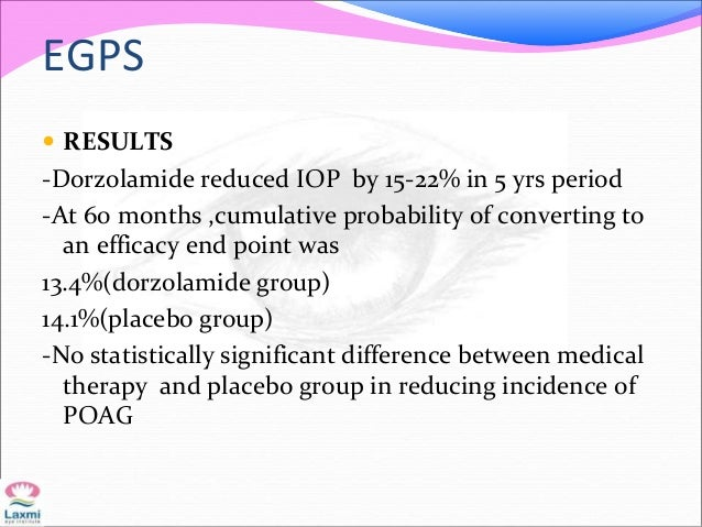 EGPS  RESULTS -Dorzolamide reduced IOP by 15-22% in 5 yrs period -At 60 months ,cumulative probability of converting to a...