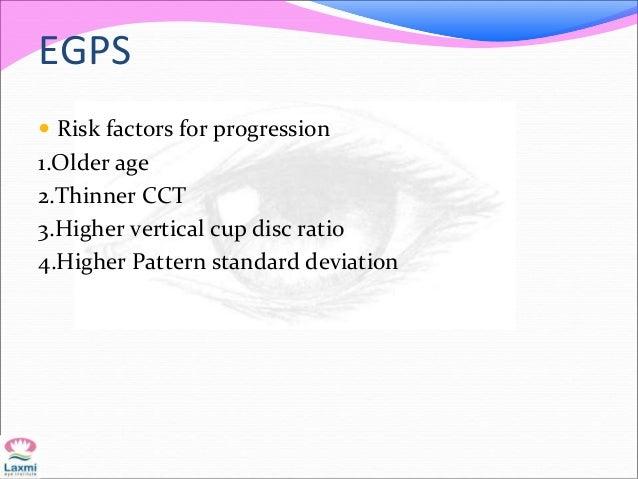 EGPS  Risk factors for progression 1.Older age 2.Thinner CCT 3.Higher vertical cup disc ratio 4.Higher Pattern standard d...