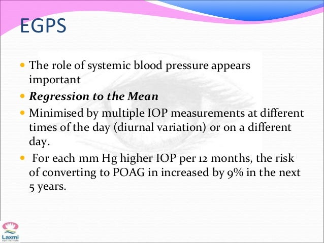 EGPS  The role of systemic blood pressure appears important  Regression to the Mean  Minimised by multiple IOP measurem...