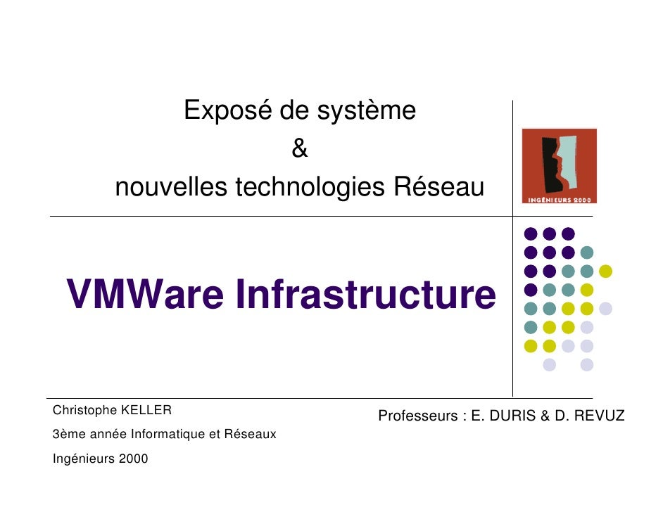 Exposé de système                        &          nouvelles technologies Réseau      VMWare Infrastructure  Christophe K...