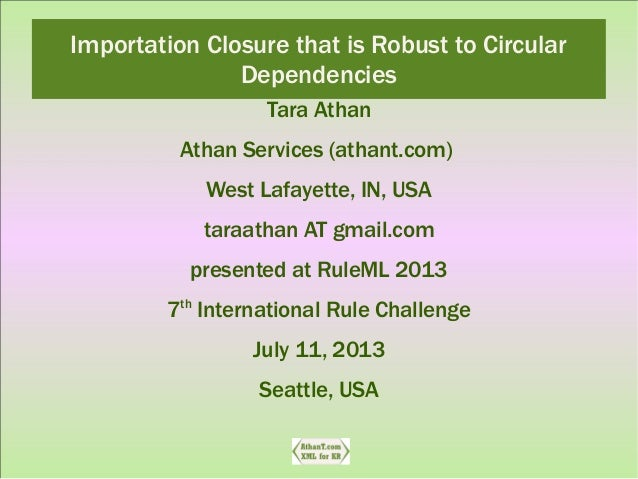 Importation Closure that is Robust to Circular Dependencies Tara Athan Athan Services (athant.com) West Lafayette, IN, USA...