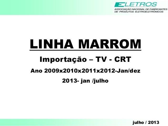 julho / 2013 LINHA MARROM Importação – TV - CRT Ano 2009x2010x2011x2012-Jan/dez 2013- jan /julho