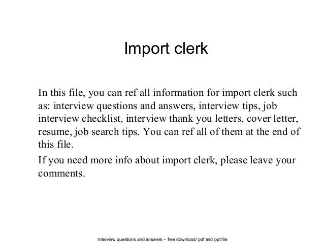Interview Questions And Answers U2013 Free Download/ Pdf And Ppt File Import  Clerk In This ...