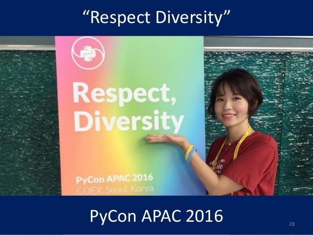 """Respect Diversity"" PyCon APAC 2016 28"