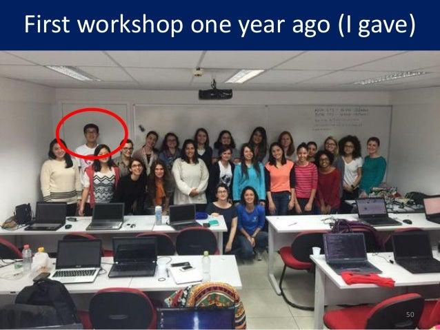 First workshop one year ago (I gave) 50