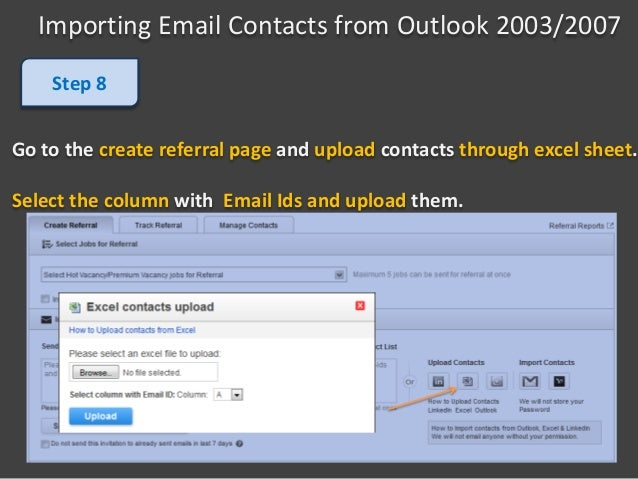 Import contacts from outlook 2003, 2007 - For contacts not