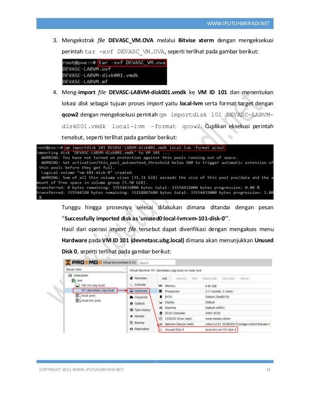 COPYRIGHT 2021 WWW.IPUTUHARIYADI.NET 13 WWW.IPUTUHARIYADI.NET 3. Mengekstrak file DEVASC_VM.OVA melalui Bitvise xterm deng...