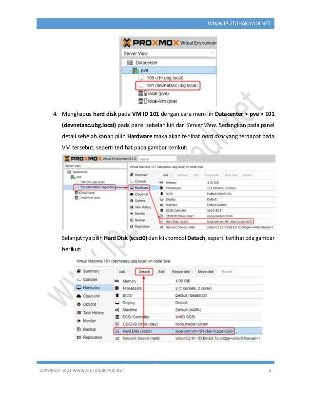 COPYRIGHT 2021 WWW.IPUTUHARIYADI.NET 8 WWW.IPUTUHARIYADI.NET 4. Menghapus hard disk pada VM ID 101 dengan cara memilih Dat...