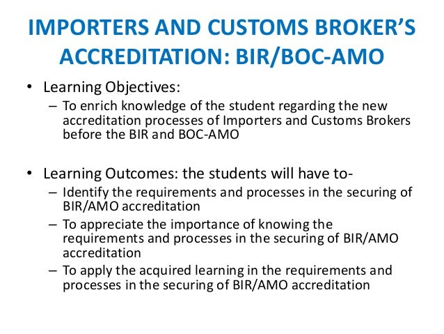 Importers and customs broker's accreditation in the Philippines on