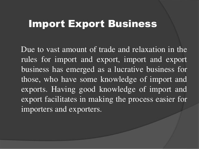 Import and export essay