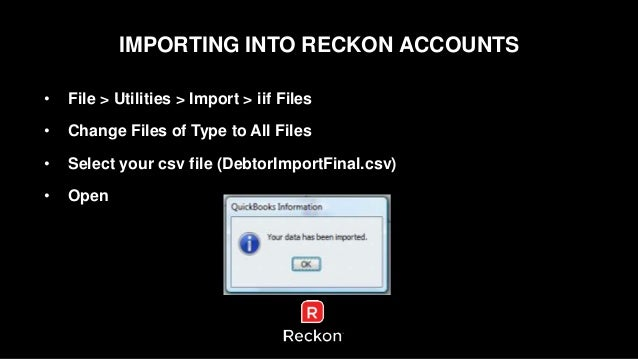 Importing opening debtors and creditors with Reckon Accounts business…