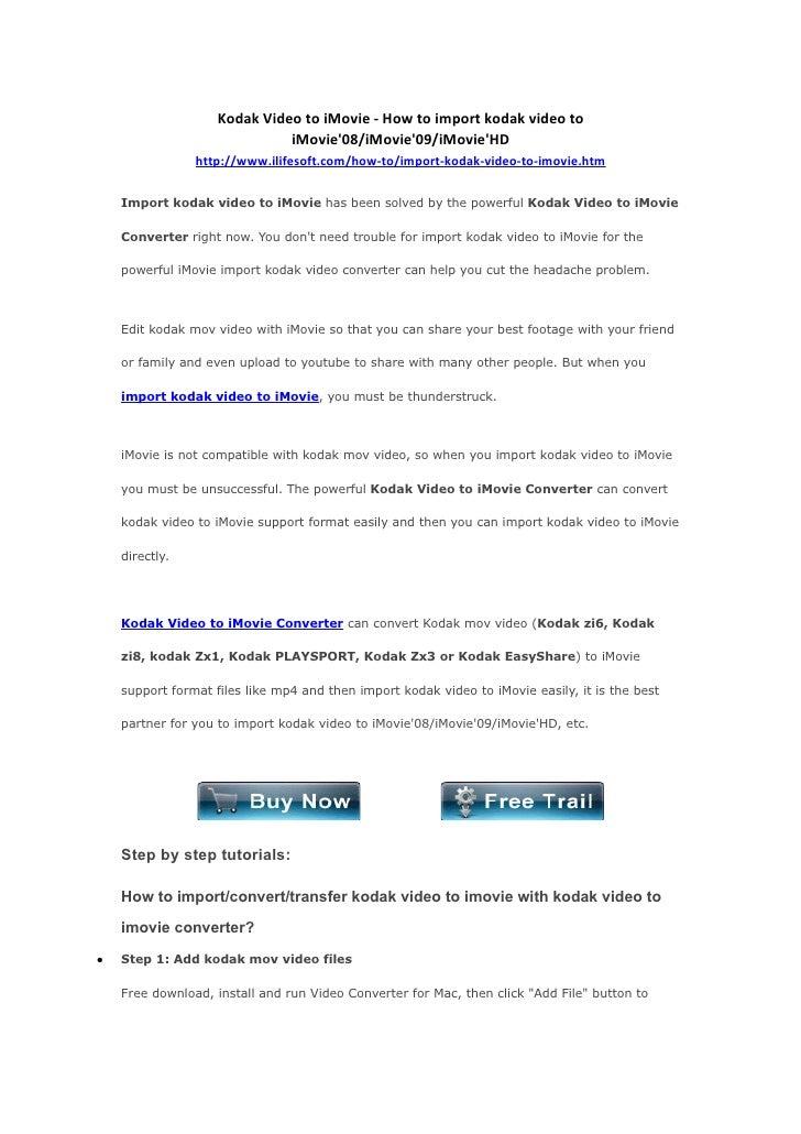 Kodak Video to iMovie - How to import kodak video to                               iMovie'08/iMovie'09/iMovie'HD          ...