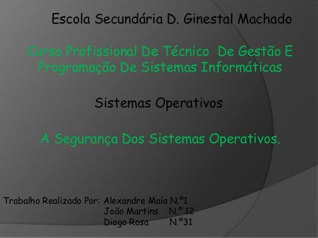 Escola Secundária D. Ginestal Machado  Curso Profissional De Técnico De Gestão E  Programação De Sistemas Informáticas  Si...