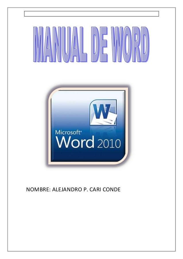 NOMBRE: ALEJANDRO P. CARI CONDE