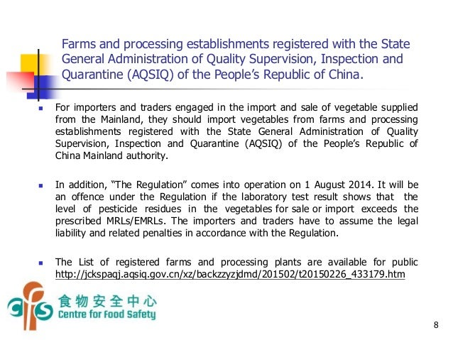 Import or Sale of Vegetables Supplied from Mainland to Hong