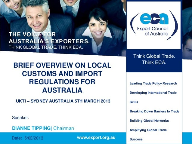 THE VOICE FORAUSTRALIA'S EXPORTERS.THINK GLOBAL TRADE. THINK ECA.                                                  Think G...