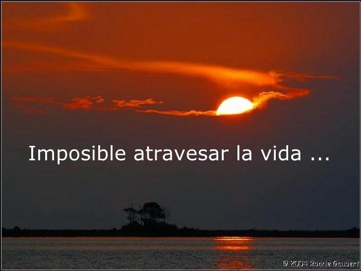 Imposible atravesar la vida ...