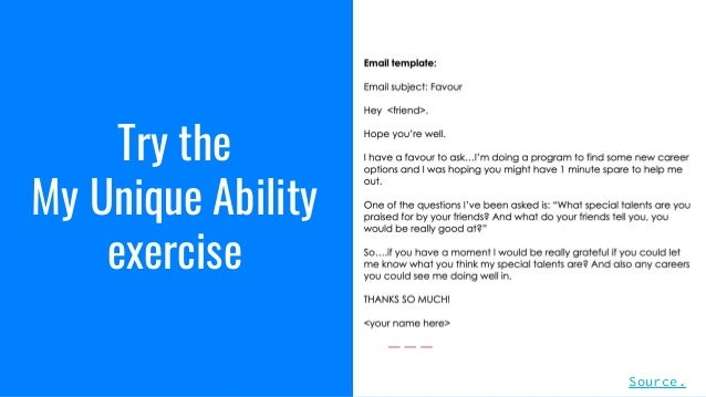 Try the My Unique Ability exercise Source.