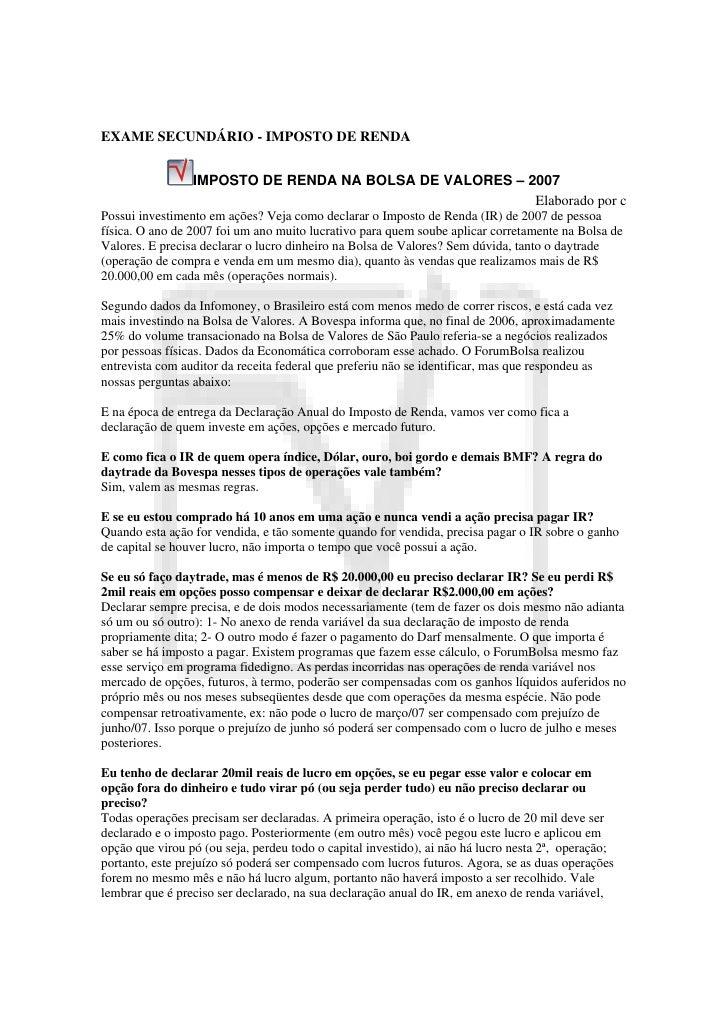 EXAME SECUNDÁRIO - IMPOSTO DE RENDA                 IMPOSTO DE RENDA NA BOLSA DE VALORES – 2007                           ...