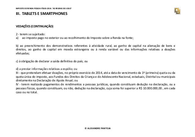 Imposto De Renda Pessoa F Sica 2014 As Regras Do Jogo