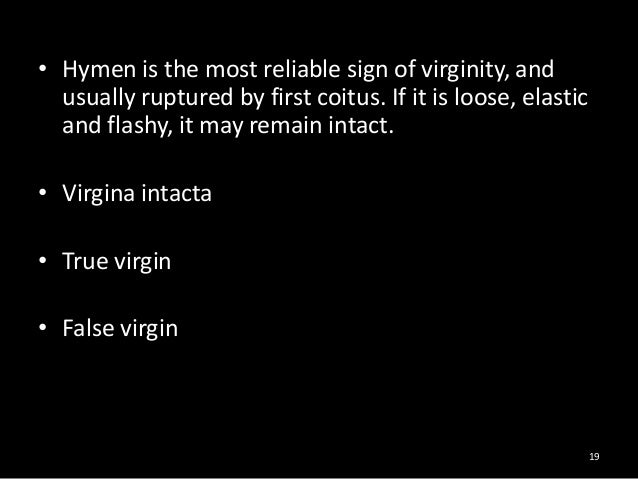 Sign for virginity