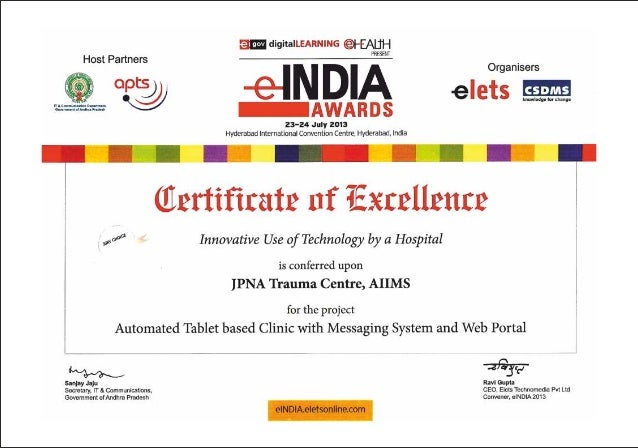 mCura enabled Tablet based appointment system at All India Institute of Medical Sciences gets certificate of excellence