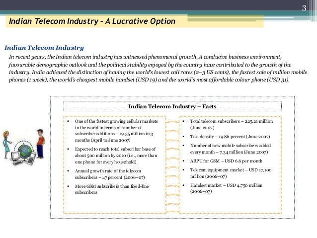 3 Indian Telecom Industry – A Lucrative Option In recent years, the Indian telecom industry has witnessed phenomenal growt...