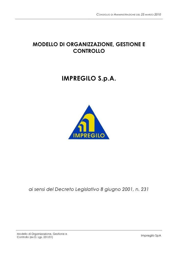CONSIGLIO DI AMMINISTRAZIONE DEL 25 MARZO 2010                MODELLO DI ORGANIZZAZIONE, GESTIONE E                       ...