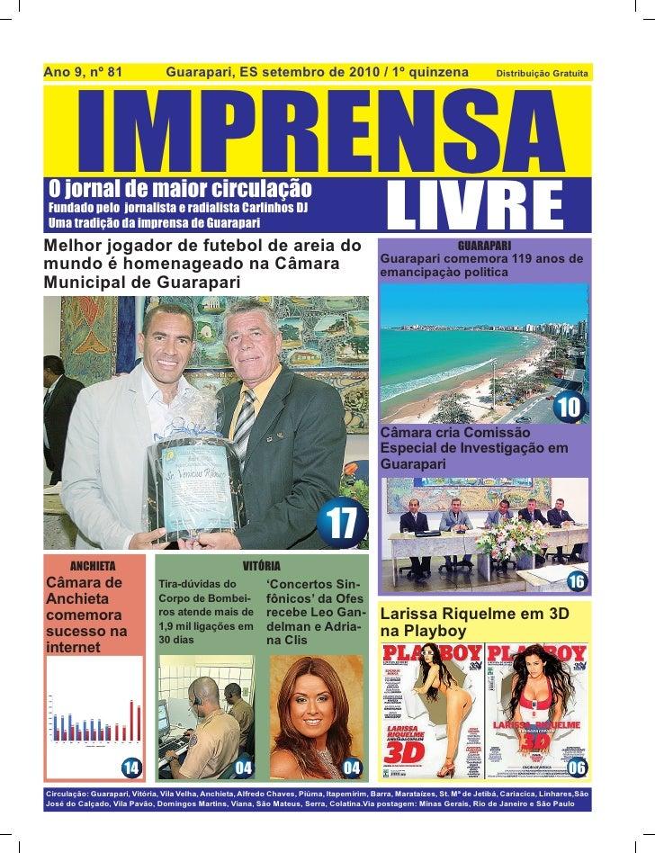 Jornal Imprensa Livre  - 2º quinzena de Setembro de 2010