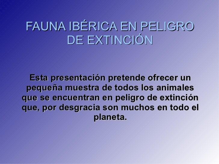 FAUNA IBÉRICA EN PELIGRO DE EXTINCIÓN Esta presentación pretende ofrecer un pequeña muestra de todos los animales que se e...