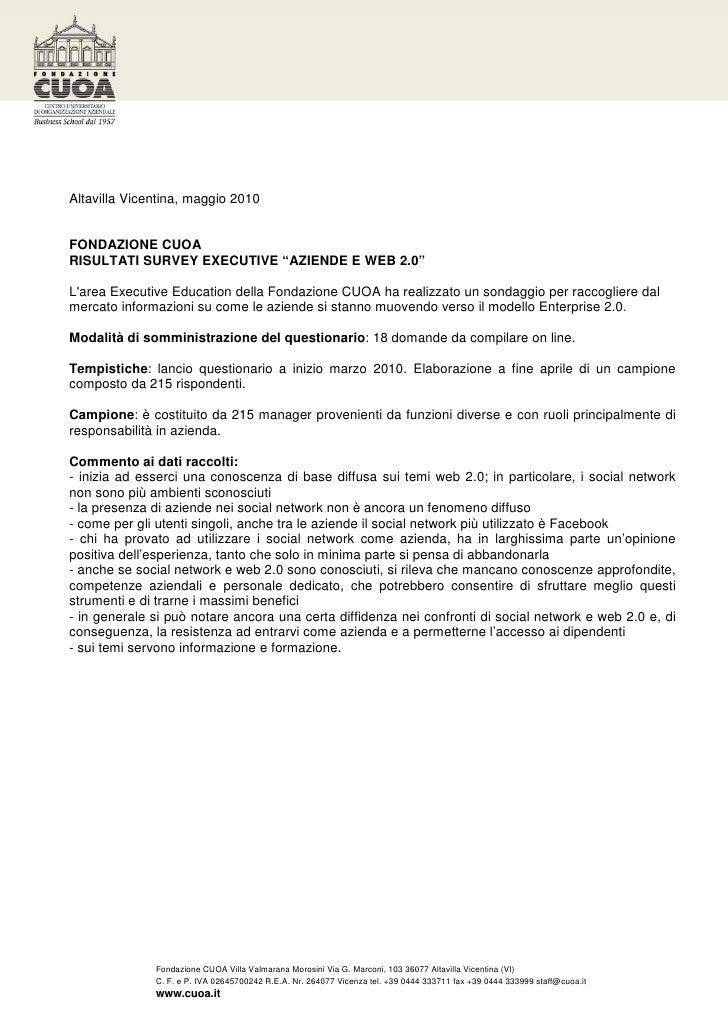 """Altavilla Vicentina, maggio 2010   FONDAZIONE CUOA RISULTATI SURVEY EXECUTIVE """"AZIENDE E WEB 2.0""""  L'area Executive Educat..."""