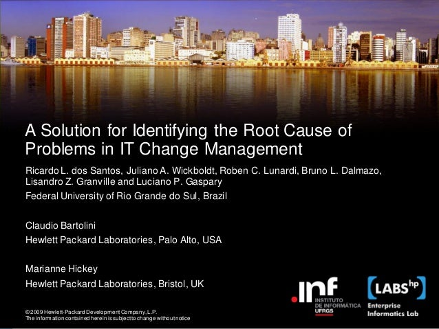 A Solution for Identifying the Root Cause ofProblems in IT Change ManagementRicardo L. dos Santos, Juliano A. Wickboldt, R...