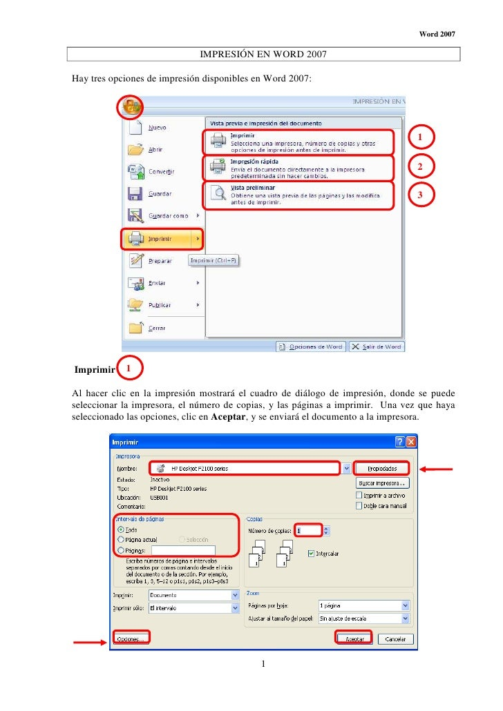 Word 2007                             IMPRESIÓN EN WORD 2007Hay tres opciones de impresión disponibles en Word 2007:      ...