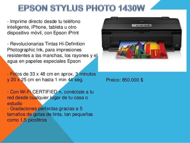 - Imprime directo desde tu teléfonointeligente, iPhone, tableta u otrodispositivo móvil, con Epson iPrint- Revolucionarias...