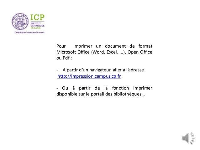 Pour imprimer un document de format Microsoft Office (Word, Excel, ...), Open Office ou Pdf : - A partir d'un navigateur, ...